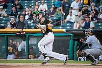 Jett Bandy (27) of the Salt Lake Bees at bat against the Sacramento River Cats in Pacific Coast League action at Smith's Ballpark on April 20, 2015 in Salt Lake City, Utah.  (Stephen Smith/Four Seam Images)