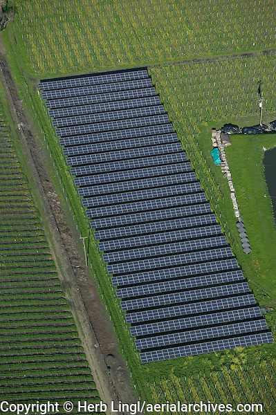 aerial view above solar panel array vineyard Napa Valley California