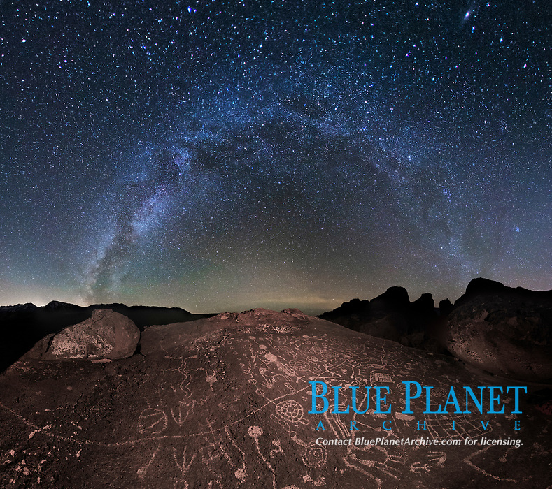 The Milky Way at Night over Sky Rock.  Sky Rock petroglyphs near Bishop, California. Hidden atop an enormous boulder in the Volcanic Tablelands lies Sky Rock, a set of petroglyphs that face the sky. These superb examples of native American petroglyph artwork are thought to be Paiute in origin, but little is known about them.