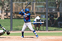 Los Angeles Dodgers infielder Kenneth Betancourt (60) at bat during an Instructional League game against the Oakland Athletics at Camelback Ranch on September 27, 2018 in Glendale, Arizona. (Zachary Lucy/Four Seam Images)