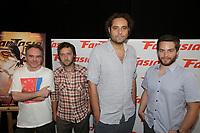 Montreal (Qc) Canada  - August 3rd 2012-:<br /> Marc Lamothe , MC (L) and  Quebec animation filmmakers  Patrick Bouchard (M-L) , Theodore Ushev  (M-R) , Patrick Doyon (R) take part in '' Regard sur le parcours de quatre animateurs québécois '' panel at fantasia festival