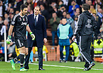 Goalkeeper Gianluigi Buffon of Juventus (L) walks pass Manager Massimiliano Allegri of Juventus (C) after been sent off during the UEFA Champions League 2017-18 quarter-finals (2nd leg) match between Real Madrid and Juventus at Estadio Santiago Bernabeu on 11 April 2018 in Madrid, Spain. Photo by Diego Souto / Power Sport Images