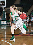 North Texas Mean Green guard Laura McCoy (4) in action during the game between the Denver Pioneer Women and the University of North Texas Mean Green at the North Texas Coliseum,the Super Pit, in Denton, Texas. Denver defeats UNT 50 to 44...
