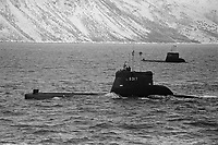 - NATO exercises in Norway, february 1986; Norwegian navy, Kobben class submarines<br /> <br /> - Esercitazioni NATO in Norvegia, febbraio 1986; marina militare norvegese, sommergibili classe Kobben