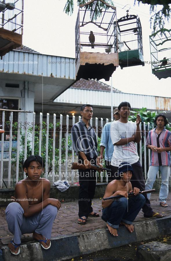 Indonesia Java Jakarta, bird cages and young boys with gun on the street / Indonesien Jakarta, Jugendliche mit Waffen auf der Strasse