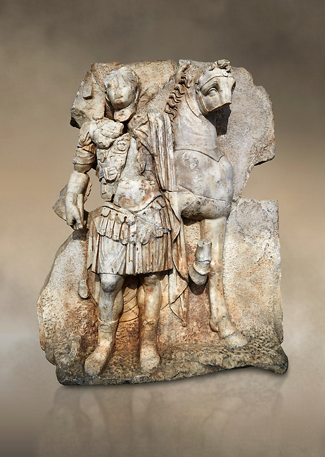 Roman Sebasteion relief sculpture of  an Imperial prince as Diokouros son of zeus, Aphrodisias Museum, Aphrodisias, Turkey.  Against an art background.<br /> <br /> An imperial youth wearing a military cloak and cuirass of a commander holds the reins of hios horse. This panel is next to a Claudius panel so is probably of Britanicus or Nero the emperors son and intended successor