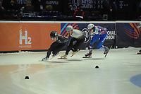 SPEEDSKATING: DORDRECHT: 05-03-2021, ISU World Short Track Speedskating Championships, Heats 1000m Men, Andrew Heo (USA), Shaolin Sandor Liu (HUN), Konstantin Ivliev (RSU), ©photo Martin de Jong