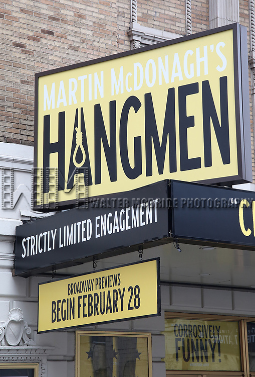 "Theatre Marquee unveiling for Martin McDonagh's Olivier Award-winning ""Hangmen"" at the Golden Theatre on February 4, 2020 in New York City."