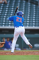 AZL Cubs 1 Ervis Marchan (21) at bat during an Arizona League game against the AZL D-backs on July 25, 2019 at Sloan Park in Mesa, Arizona. The AZL D-backs defeated the AZL Cubs 1 3-2. (Zachary Lucy/Four Seam Images)
