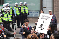 Montreal (QC) CANADA - April 20, 2012 - Students on strike surrond the Montreal Convention Centre after  fighting with police.