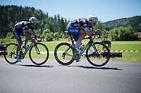 'Pantzerwagen'/steamtrain/locomotiv/rouleur/machine Tony Martin (DEU/Etixx-Quickstep) setting a fierce pace for himself & teammate Julian Alaphilippe (FRA/Etixx-QuickStep) in the escape that will keep them +170km out of reach of the chasing peloton<br /> <br /> stage 16: Morain-en-Montagne to Bern (SUI) / 209km<br /> 103rd Tour de France 2016
