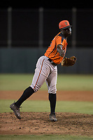 AZL Giants Orange relief pitcher Chris Roberts (85) follows through on his delivery during an Arizona League game against the AZL Athletics at Lew Wolff Training Complex on June 25, 2018 in Mesa, Arizona. AZL Giants Orange defeated the AZL Athletics 7-5. (Zachary Lucy/Four Seam Images)
