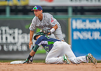 9 July 2015: Mahoning Valley Scrappers infielder Mark Mathias gets Vermont Lake Monsters infielder Richie Martin out at second during game action at Centennial Field in Burlington, Vermont. The Scrappers defeated the Lake Monsters 8-4 in 12 innings of NY Penn League play. Mandatory Credit: Ed Wolfstein Photo *** RAW Image File Available ****