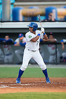 Jose Sanchez (2) of the Burlington Royals at bat against the Kingsport Mets at Burlington Athletic Stadium on July 18, 2016 in Burlington, North Carolina.  The Royals defeated the Mets 8-2.  (Brian Westerholt/Four Seam Images)