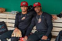 Batavia Muckdogs Gerardo Nunez (left) and Samuel Castro (right) during practice on June 12, 2019 at Dwyer Stadium in Batavia, New York.  (Mike Janes/Four Seam Images)
