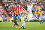 Real Madrid's Karim Benzema and Valencia's Jeison Murillo during La Liga match between Real Madrid and Valencia CF at Santiago Bernabeu Stadium in Madrid, Spain August 27, 2017. (ALTERPHOTOS/Borja B.Hojas)
