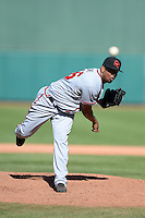 Scottsdale Scorpions pitcher Juan Jaime (46), of the Atlanta Braves organization, during an Arizona Fall League game against the Mesa Solar Sox on October 15, 2013 at HoHoKam Park in Mesa, Arizona.  Mesa defeated Scottsdale 7-4.  (Mike Janes/Four Seam Images)