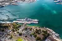 An aerial view of the Battleship Missouri Memorial at Ford Island, O'ahu.