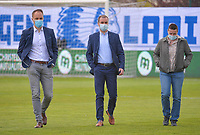 Match referee Florian Stove, assistant referees Tom Bonduel and Elle De Vries are inspecting the pitch before a female soccer game between  AA Gent Ladies and Oud Heverlee Leuven on the fourth matchday of play off 1 in the 2020 - 2021 season of Belgian Scooore Womens Super League , saturday 1 st of May 2021  in Oostakker , Belgium . PHOTO SPORTPIX.BE | SPP | STIJN AUDOOREN