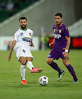 27th March 2021; HBF Park, Perth, Western Australia, Australia; A League Football, Perth Glory versus Newcastle Jets; Ramy Najjarine of the Newcastle Jets passes the ball ahead of Bruno Fornaroli Mezza of the Perth Glory