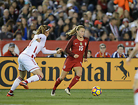 San Diego, Ca - Sunday, January 21, 2018: Emily Sonnett during a USWNT 5-1 victory over Denmark at SDCCU Stadium.