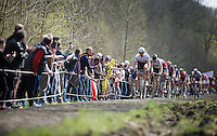 Fabian Cancellara (SUI/Trek-Segafredo) in the infamous Trouée d'Arenberg / Wallers Forest (2.4km), followed closely by World Champion Peter Sagan (SVK/Tinkoff)<br /> <br /> 114th Paris-Roubaix 2016