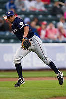 Mario Lisson (29) of the Northwest Arkansas Naturals fields a ground ball during a game against the Springfield Cardinals on May 13, 2011 at Hammons Field in Springfield, Missouri.  Photo By David Welker/Four Seam Images.