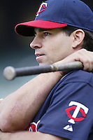 Jay Canizaro of the Minnesota Twins before a 2002 MLB season game against the Los Angeles Angels at Angel Stadium, in Anaheim, California. (Larry Goren/Four Seam Images)
