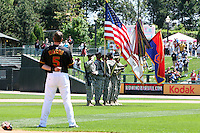 May 25, 2009:  Third Baseman Matt Macri (5) of the Rochester Red Wings, International League Triple-A affiliate of the Minnesota Twins, addresses the flags during the national anthem on Memorial Day at Frontier Field in Rochester, NY.  Photo by:  Mike Janes/Four Seam Images