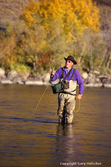 Flyfisherman on Yakima River, WA.  Model Released.