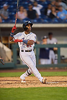 Domingo Leyba (26) of the Reno Aces hits a three run homer against the Nashville Sounds at Greater Nevada Field on June 5, 2019 in Reno, Nevada. The Aces defeated the Sounds 3-2. (Stephen Smith/Four Seam Images)