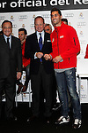 Real Madrid player Alvaro Arbeloa (r) and the President Florentino Perez participate and receive new Audi during the presentation of Real Madrid's new cars made by Audi at the Jarama racetrack on November 8, 2012 in Madrid, Spain.(ALTERPHOTOS/Harry S. Stamper)