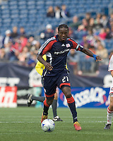 New England Revolution midfielder Shalrie Joseph (21) dribbles. The New England Revolution out scored the Chicago Fire, 2-1, in Game 1 of the Eastern Conference Semifinal Series at Gillette Stadium on November 1, 2009.