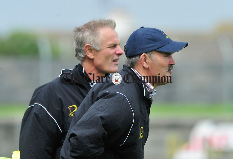 Doonbeg Manager Tommy Tubridy (right) with selector Eddie Kileen. Photograph by Declan Monaghan