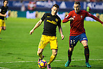 Atletico de Madrid's Kevin Gameiro and Club Atletico Osasuna'sCarlos Clerc  during the match of La Liga, between Club Altetico Osasuna and Atletico de Madrid at Sadar Stadium, Pamplona , Spain. November 27, 2016. (ALTERPHOTOS/Rodrigo Jimenez)