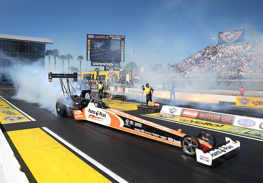 Mar. 16, 2013; Gainesville, FL, USA; NHRA top fuel dragster driver Clay Millican during qualifying for the Gatornationals at Auto-Plus Raceway at Gainesville. Mandatory Credit: Mark J. Rebilas-