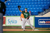 Daytona Tortugas first baseman Bruce Yari (44) stretches to receive a throw during a game against the St. Lucie Mets on August 3, 2018 at First Data Field in Port St. Lucie, Florida.  Daytona defeated St. Lucie 3-2.  (Mike Janes/Four Seam Images)