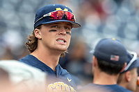 Michigan Wolverines outfielder Jesse Franklin (7) before Game 6 of the NCAA College World Series against the Florida State Seminoles on June 17, 2019 at TD Ameritrade Park in Omaha, Nebraska. Michigan defeated Florida State 2-0. (Andrew Woolley/Four Seam Images)