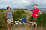 Concerned local residents standing beside the discarded rubbish on the dunes at the beach in Castlegregory on Tuesday. l to r: Fionnuala Fitzgerald and Jan Spillane