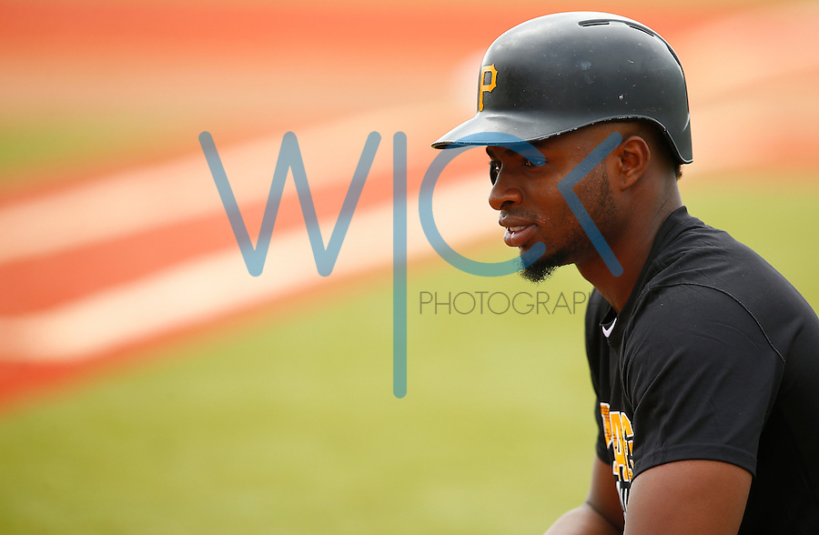 Gregory Polanco #25 of the Pittsburgh Pirates works out during spring training at Pirate City in Bradenton, Florida on February 21, 2016. (Photo by Jared Wickerham / DKPS)