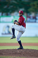 Mahoning Valley Scrappers starting pitcher Gregori Vasquez (47) delivers a pitch during a game against the Batavia Muckdogs on August 18, 2017 at Dwyer Stadium in Batavia, New York.  Mahoning Valley defeated Batavia 8-2.  (Mike Janes/Four Seam Images)