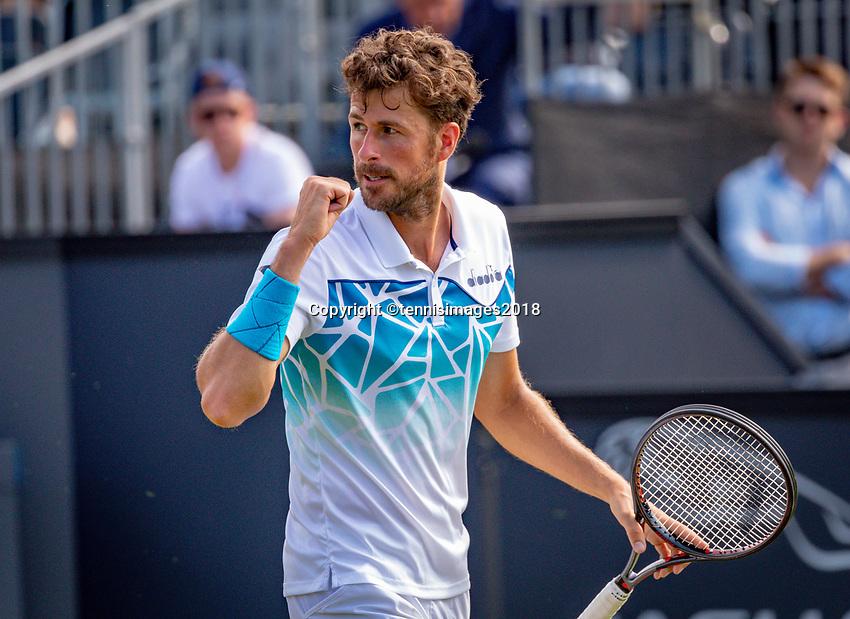 Den Bosch, Netherlands, 11 June, 2018, Tennis, Libema Open, Robin Haase (NED) celebrates his win over Karlovic (CRO)<br /> Photo: Henk Koster/tennisimages.com