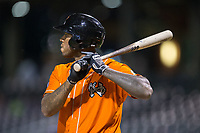 David Washington (44) of the Norfolk Tides at bat against the Charlotte Knights at BB&T BallPark on May 2, 2017 in Charlotte, North Carolina.  The Knights defeated the Tides 8-3.  (Brian Westerholt/Four Seam Images)
