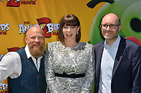 """LOS ANGELES, USA. August 10, 2019: Thurop Van Orman, Rachel Bloom & John Cohen at the premiere of """"The Angry Birds Movie 2"""" at the Regency Village Theatre.<br /> Picture: Paul Smith/Featureflash"""