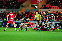 Will Evans of Leicester Tigers is tackled by Dan Jones of Scarlets during the Heineken Champions Cup round 5 match between the Scarlets and Leicester Tigers at the Parc Y Scarlets Stadium in Llanelli, Wales, UK. Saturday 12th January 2019