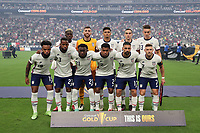 LAS VEGAS, NV - AUGUST 1: United States starting XI before a game between Mexico and USMNT at Allegiant Stadium on August 1, 2021 in Las Vegas, Nevada.