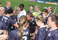 Players of the Washington Freedom preparing during a WPS match against ST. Louis Athletica on May 1 2010, at RFK Stadium, in Washington D.C. Freedom won 3-1.