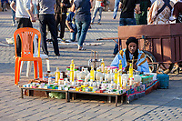 Meknes, Morocco.  Vendor of Body-care Products in the Place Hedime.