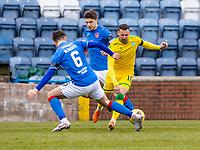 18th April 2021; Stair Park, Stranraer, Dumfries, Scotland; Scottish Cup Football, Stranraer versus Hibernian; Martin Boyle of Hibernian takes on Connor McManus of Stranraer