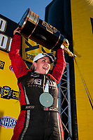 Nov 17, 2019; Pomona, CA, USA; NHRA pro stock driver Erica Enders celebrates after clinching the 2019 pro stock world championship during the Auto Club Finals at Auto Club Raceway at Pomona. Mandatory Credit: Mark J. Rebilas-USA TODAY Sports